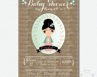 "Baby Shower ""Fridita"" Invitation Inspired on Frida Kahlo"