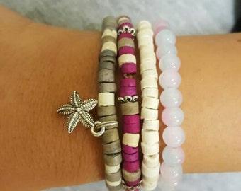 HANDMADE Purple bracelets set with coconut beads and glass beads - ISRAELI bracelets - hilula