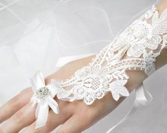 Wedding Glove Beaded Pearls White Lace Fingerless Gloves, Rhinestone Bridal Gloves, Accessories- GL001