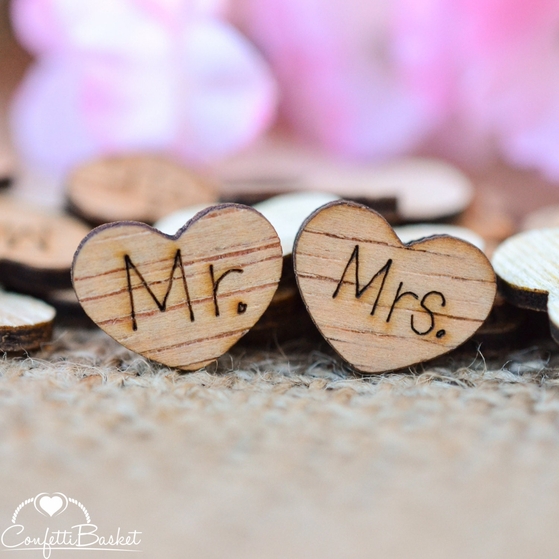 100 Mr. & Mrs. Wood Hearts 1/2 Rustic