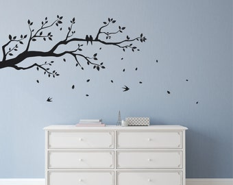 Tree Branch Wall Sticker with falling leaves, flying and perched birds | Home decor, wall art decal