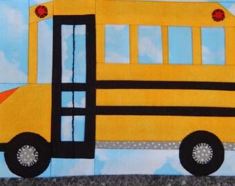 school bus vehicle foundation paper pieced PDF quilt block pattern; baby boy or kid's quilt block pattern