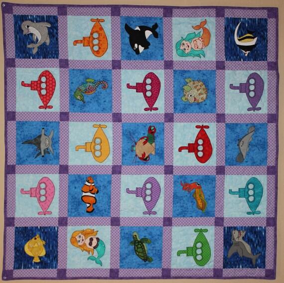 Free (almost) PDF submarine applique quilt pattern; ocean nursery quilt pattern; kids or baby ...