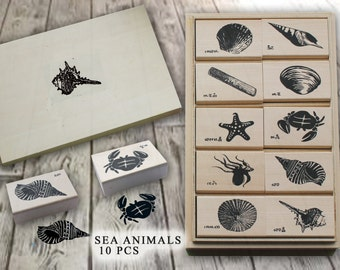 Sea animial wood rubber stamp set