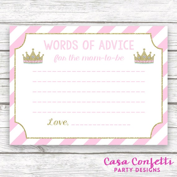 Baby Shower Words Of Wisdom Advice For Mom Card Pink And Gold