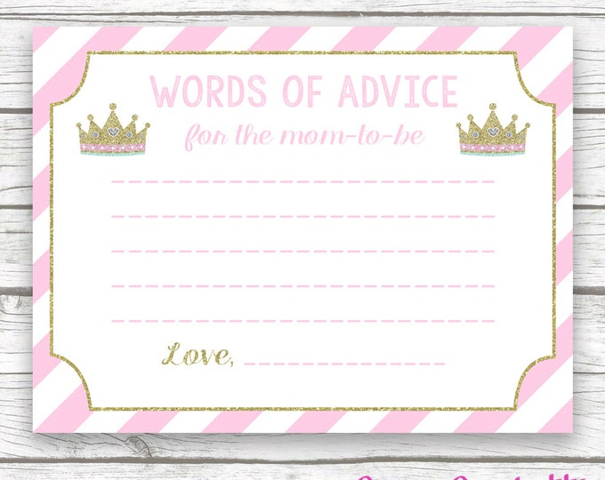 Baby Shower Words of Wisdom Advice for Mom Card, Pink and Gold Glitter Princess, Printable Baby Shower Wishes for Baby, Baby Girl Shower