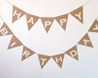 Happy Birthday Banner White and Light Brown, Birthday Party Decoration, Rustic Birthday Decor, Small Party Banner