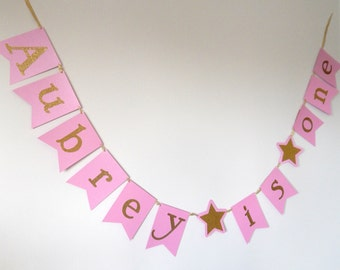 Twinkle Twinkle Pink and Gold Birthday Banner, First Birthday, I AM ONE Banner, Star Birthday Banner