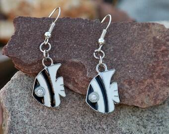 Summer earring fish earring fish jewelry Sea earring Sea jewelry black white earring black white fish charm enamel earring cloisonne earring
