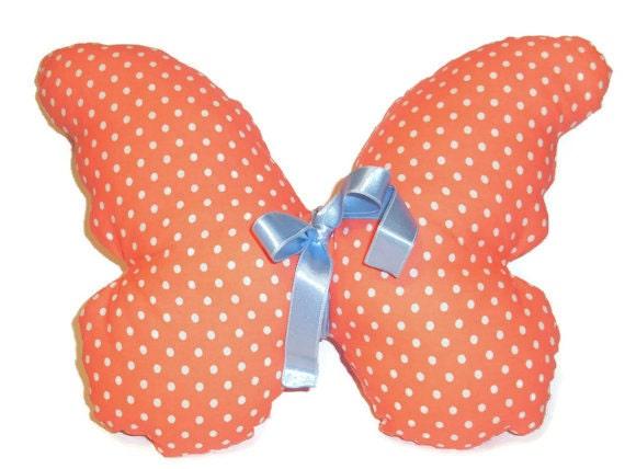 Decorative pillow, children toy, fabric butterfly, stuffed pillow, children fabric toy, children gift, soft children pillow, nursery pillow,