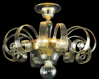 Crystal Glass Chandelier Made in Italy – Italian Murano Glass Chandelier - Venetian Hand Blown Glass Chandelier – Amber Crystal Lightning