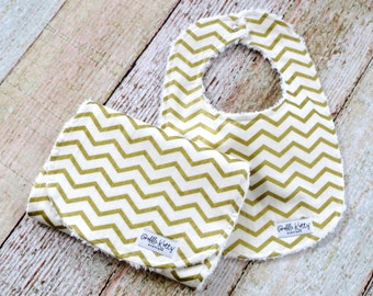 Baby Bib and Burp Cloth - Chevron Baby Bib and Burp Cloth - Gold Bib and Burp Cloth - Baby Shower Gift - Christmas Gift - Stocking Stuffer