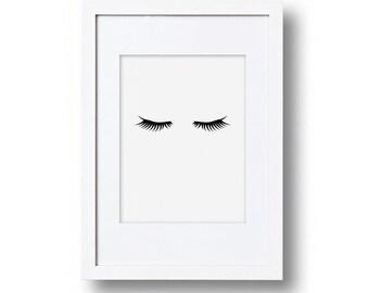 Monochrome Eyelash print, Playroom decor, Child's bedroom, Wall art print