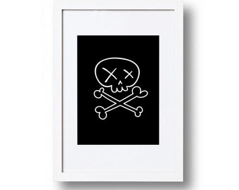 Skull and crossbones black and white print, Playroom decor, Child's bedroom, Wall art print