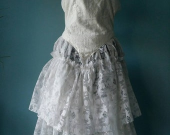 Stunning antique brocante French lace dress! white dress