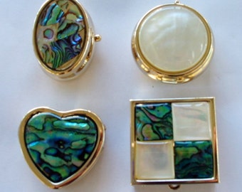 Trinket box, pill case. wedding ring box, Abalone and mother of pearl inlay