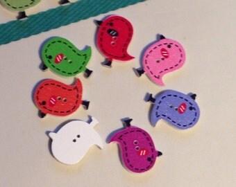 Adorable bird buttons, cardmaking, scrapbooking, wooden buttons, animal buttons, 2 cm buttons, boutons