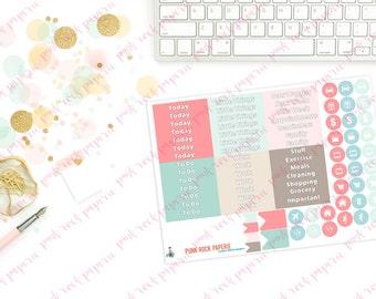 Pink & Mint Geo Collection - M/D/N Header Sampler Planner Stickers for Erin Condren Life Planners