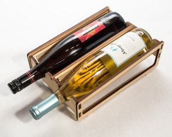 Wood Wine Rack - Double - Laser Cut Living Hinge