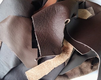 Brown Leather Scraps, Leather Offcuts, Mix Brown Colors of Leather Off Cuts, Genuine Cowhide Leather Scraps, Leather Crafts