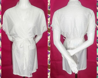 Vintage Private Moments White Lace Robe Size S