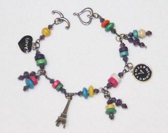 Bracelet Colorful Beads & Crystal With Charm