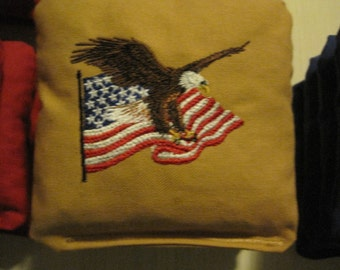 Embroidered Patriotic Corn Hole Bags Set of 4 (Your Choice of Designs and Colors)