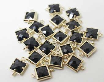 G002406/Jet/Gold plated over brass/Sqaure faceted glass Connector/7x11mm/2pcs