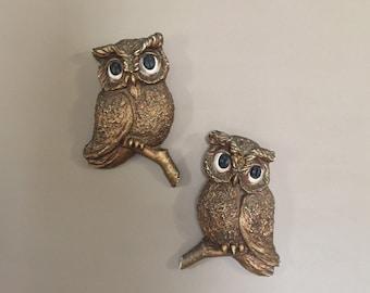 Mid Century Owl Wall Art / Gold Wall Art / Vintage Owl Wall Art / Wall