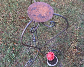 Large Vintage Iron Candle Stand / Floor Candle Stand / Rustic Candle Stand / Vintage Candleholder