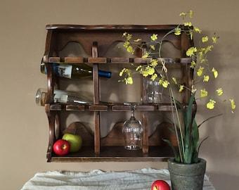 vintage wood wine rack wall wine rack u0026 stem glass holder