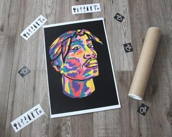 2 PAC   Tupac Shakur aka Makaveli ,wall poster, A3 rap poster on matte paper 250gsm.Wall prints by BARTakaBA rap art hip hop art rap posters