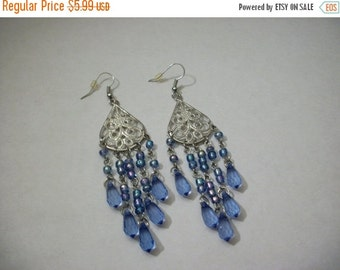 ON SALE Vintage Silver Tone Filigree Shades Of Blue Facted Beads Chandelier Earrings 1074