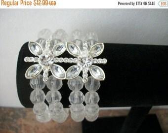 ON SALE Vintage Transparent Silver Tone Rhinestone Butterfly Bracelet 1421