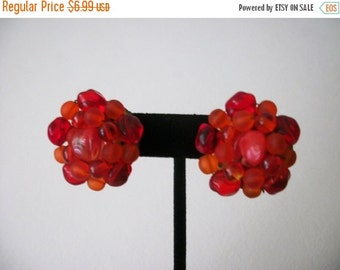 ON SALE Vintage 1940s Cranberry Red Cluster Glass Earrings 70616