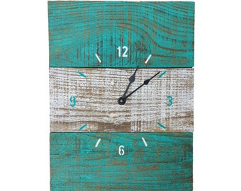 "Handcrafted Aqua and White Reclaimed Wood Wall Clock 12""x16"""