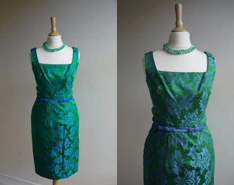 1960s Green and Blue Floral Wiggle Dress * Size X-Small