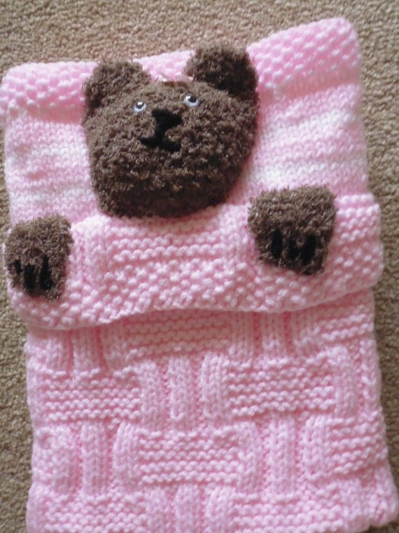 Knitting Pattern For Teddy Bear Baby Blanket : Hand knitted teddy bear baby blanket