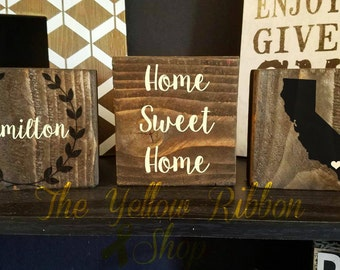 Personalized Home Sweet Home Wood Block Set