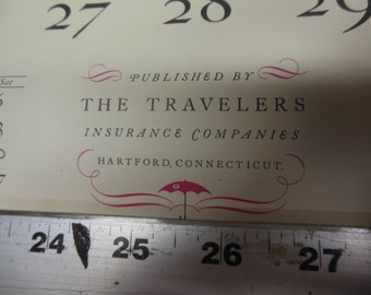 Unique Vintage 1970 Travelers Insurance Companies Advertising Calendar - Vintage Monthly Calendar Wall Decor