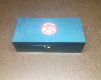 """Vintage Retro Aqua Metal Lock Box - Teal Storage Box 11 2/4"""" x 5.5"""""""