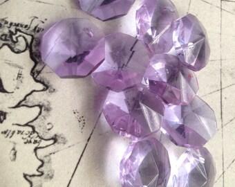 10 Vintage Mauve Amethyst-Coloured  Crystal Chandelier Drop Bead