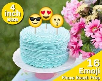printable cake topper birthday, emoji party, 4 inch, 10th birthday decorations, sweet 16, 2 year old birthday girl, 3 year old birthday boy