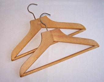 Vintage Wooden Coat Hangers. Set of 2 Soviet Coat Hangers for Children. Old Wooden Clothes Hangers. Retro Hangers Made of Wood.