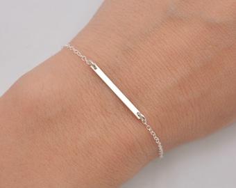 Sterling Silver Bar Bracelet, Tiny Bar Bracelet, Layering Bracelet, Bar and Chain Bracelet, Sterling Silver Bracelet, Gift for Her 0371