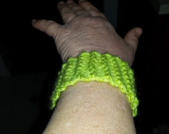 hand knitted bracelet or wristband