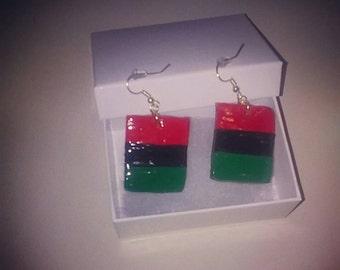 RBG Red black and green flag earrings