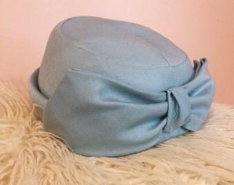 Vintage powder blue pillbox hat