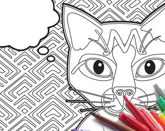 Write your own message Cat Coloring Page Custom Message PDF download zentangle printable adult coloring book card print at home craft diy