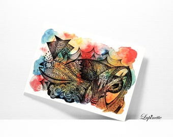 Free Shipping - 100% HOME-MADE Postcard - Giant fish